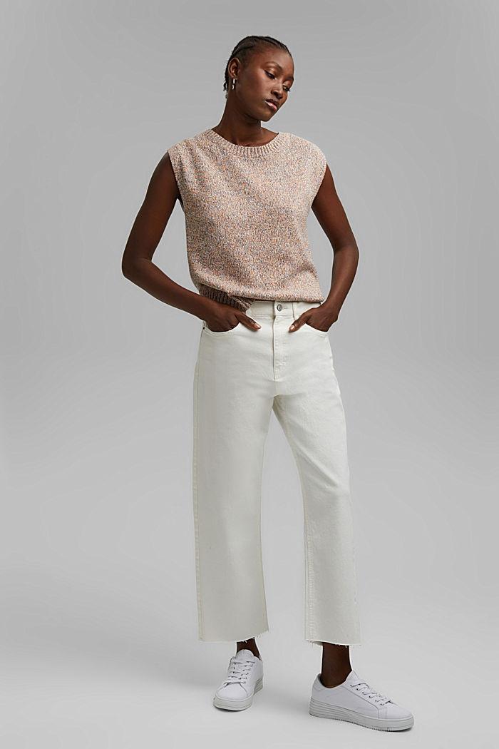Pohodové 7/8 kalhoty v sepraném vzhledu, bio bavlna, OFF WHITE, detail image number 1