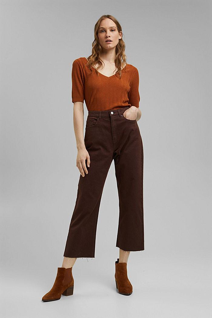 Relaxte 7/8-broek met een washed look, biologisch katoen, RUST BROWN, detail image number 0