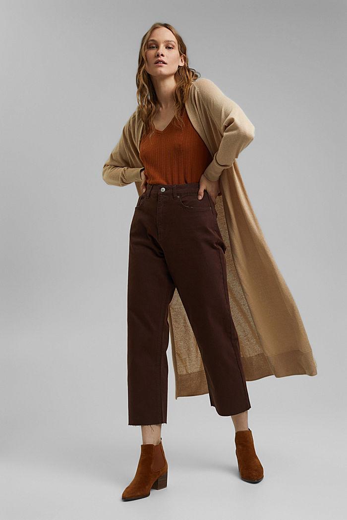 Relaxte 7/8-broek met een washed look, biologisch katoen, RUST BROWN, detail image number 1