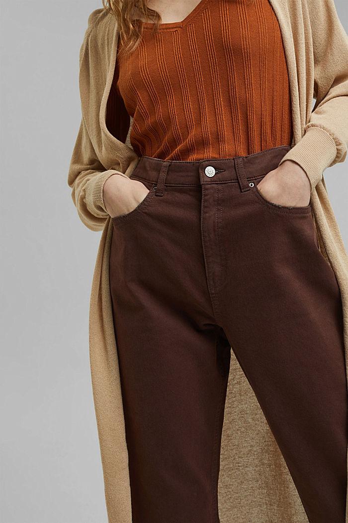 Relaxte 7/8-broek met een washed look, biologisch katoen, RUST BROWN, detail image number 2