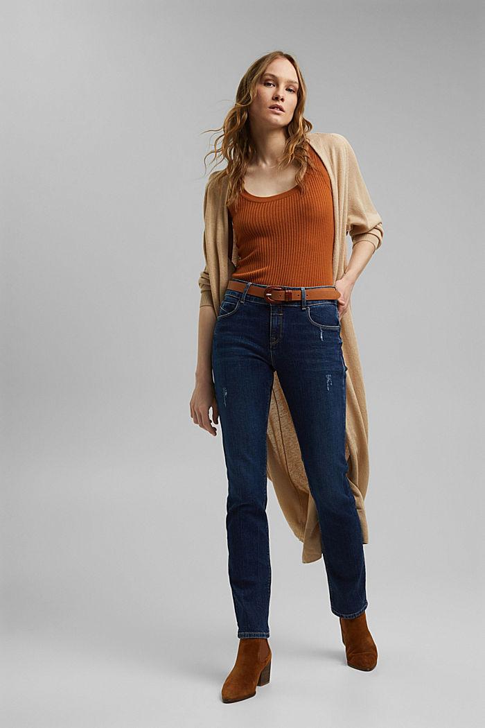 Used-Jeans mit zwei Knöpfen, Bio-Baumwolle, BLUE DARK WASHED, detail image number 1