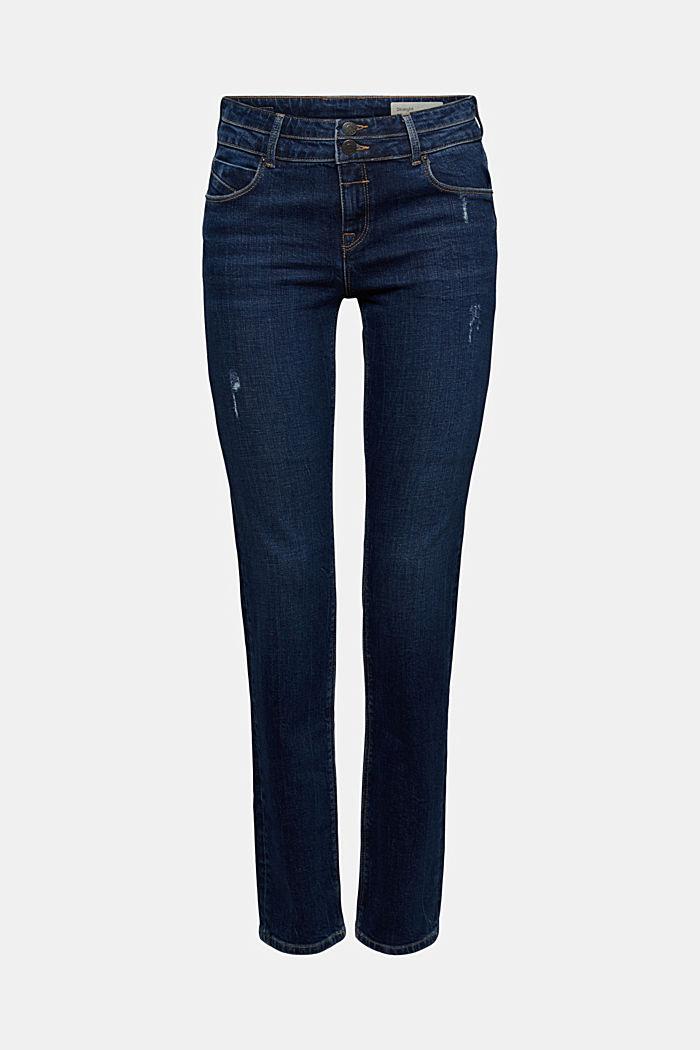 Used-Jeans mit zwei Knöpfen, Bio-Baumwolle, BLUE DARK WASHED, detail image number 6