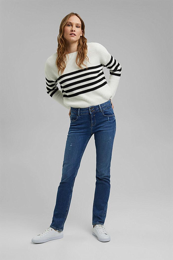 Used-Jeans mit zwei Knöpfen, Bio-Baumwolle, BLUE MEDIUM WASHED, detail image number 1