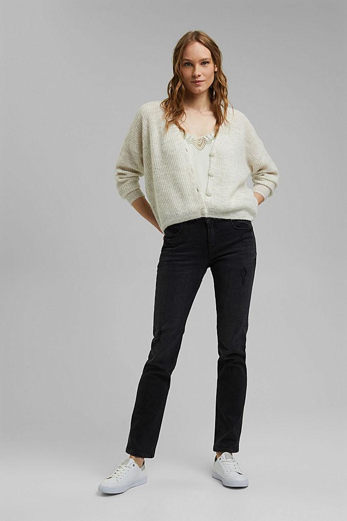 Used-Jeans mit zwei Knöpfen, Bio-Baumwolle