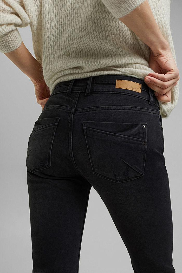Vintage jeans with two buttons, organic cotton, BLACK DARK WASHED, detail image number 5