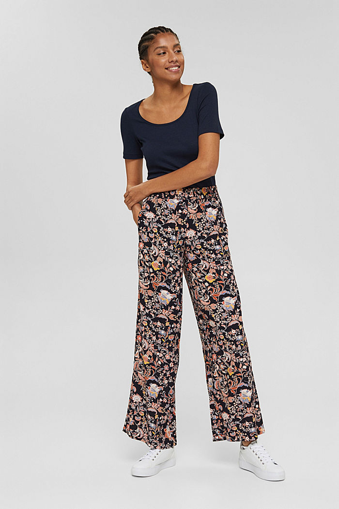 Printed trousers with a wide leg, LENZING™ ECOVERO™, NAVY, detail image number 0