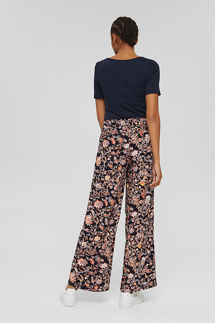 Printed trousers with a wide leg, LENZING™ ECOVERO™, NAVY, detail image number 3