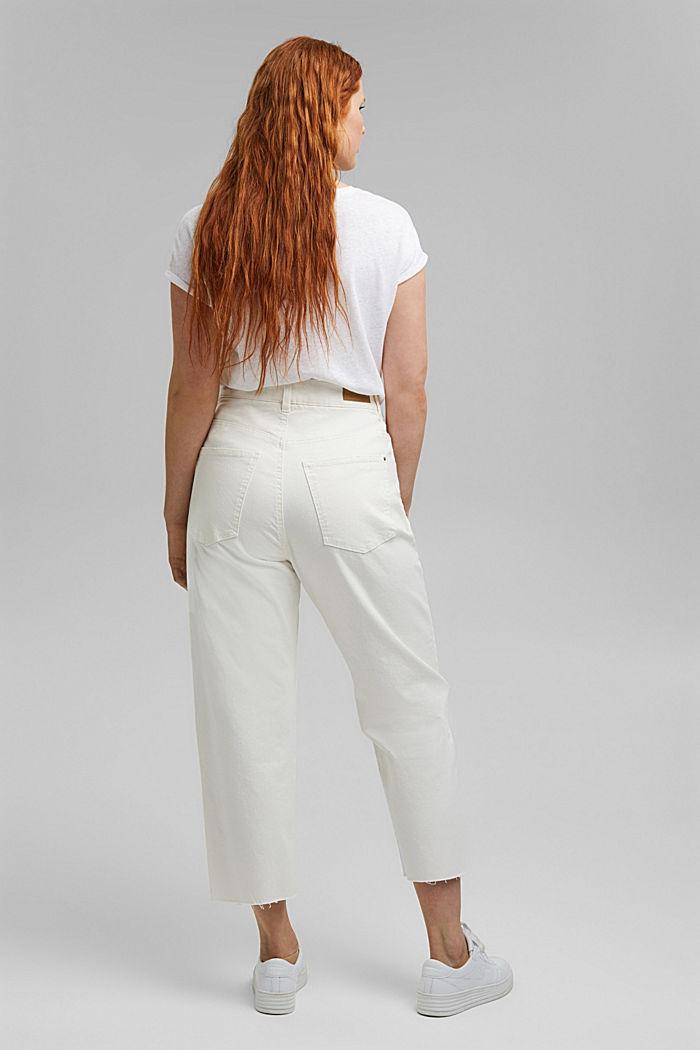Jean raccourci à taille haute, coton biologique, OFF WHITE, detail image number 3