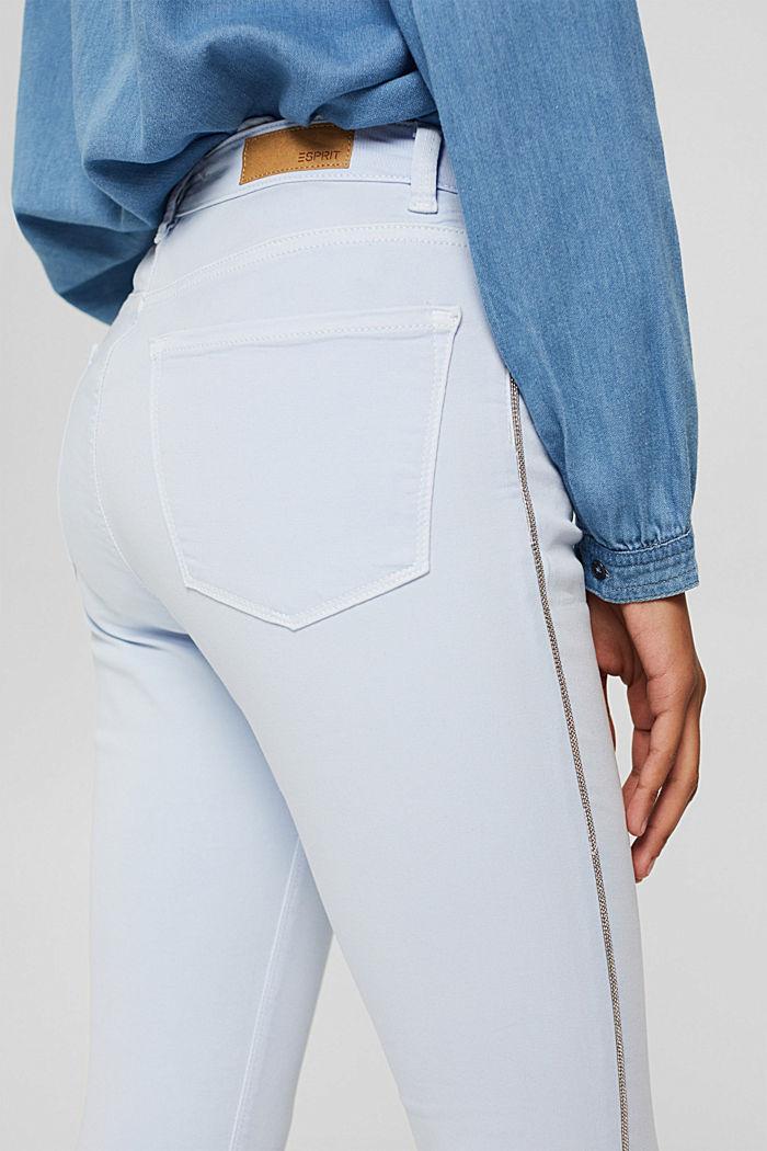 Pantalon stretch à rayures décoratives sur les côtés, PASTEL BLUE, detail image number 6
