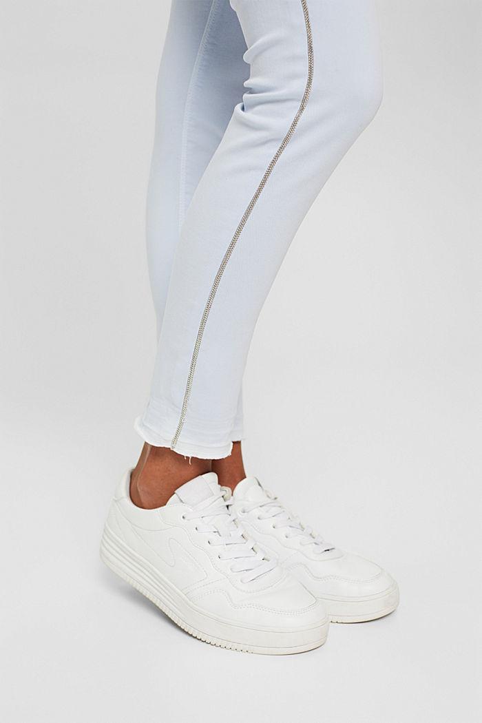 Pantalon stretch à rayures décoratives sur les côtés, PASTEL BLUE, detail image number 5