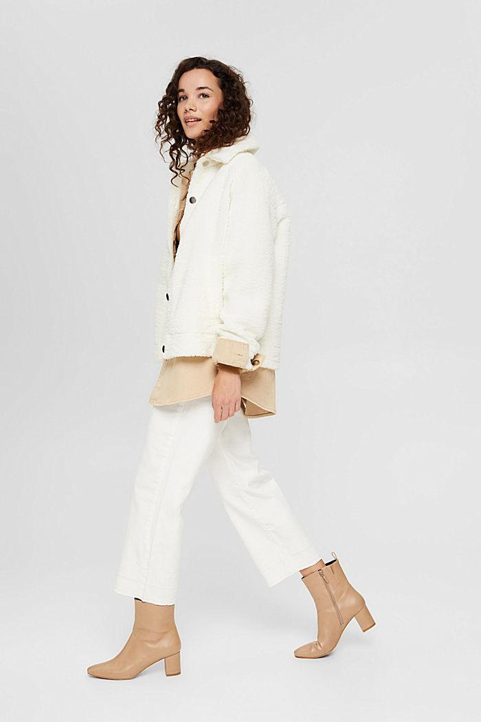 Pantalon 7/8 ample à bords francs, OFF WHITE, detail image number 1