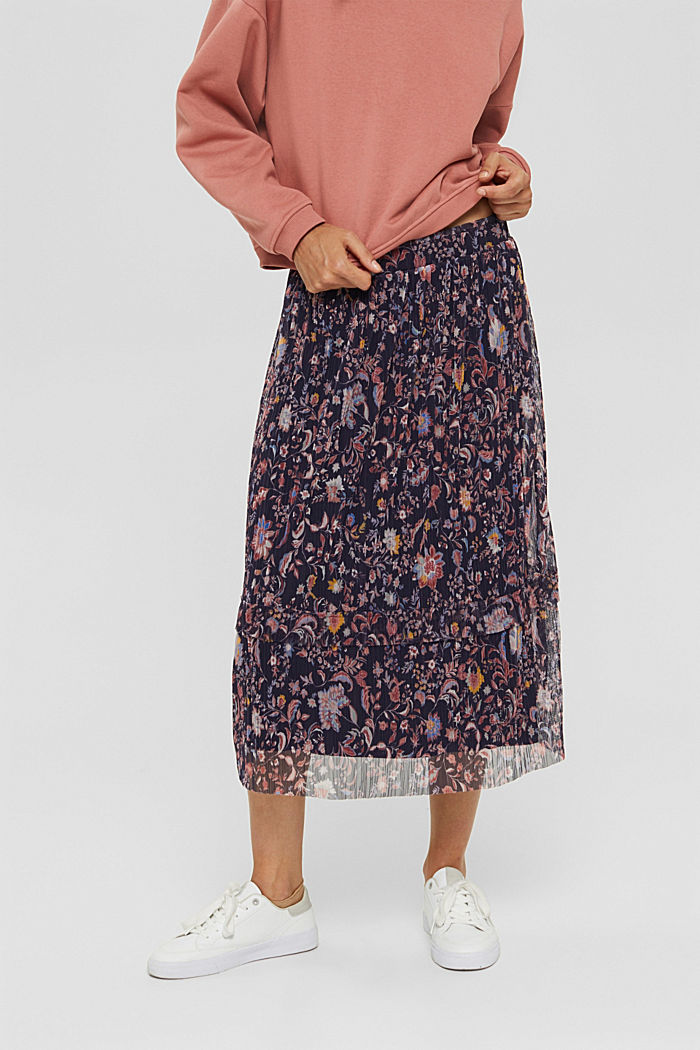 Mesh midi skirt with pleats and a print, NAVY, detail image number 0