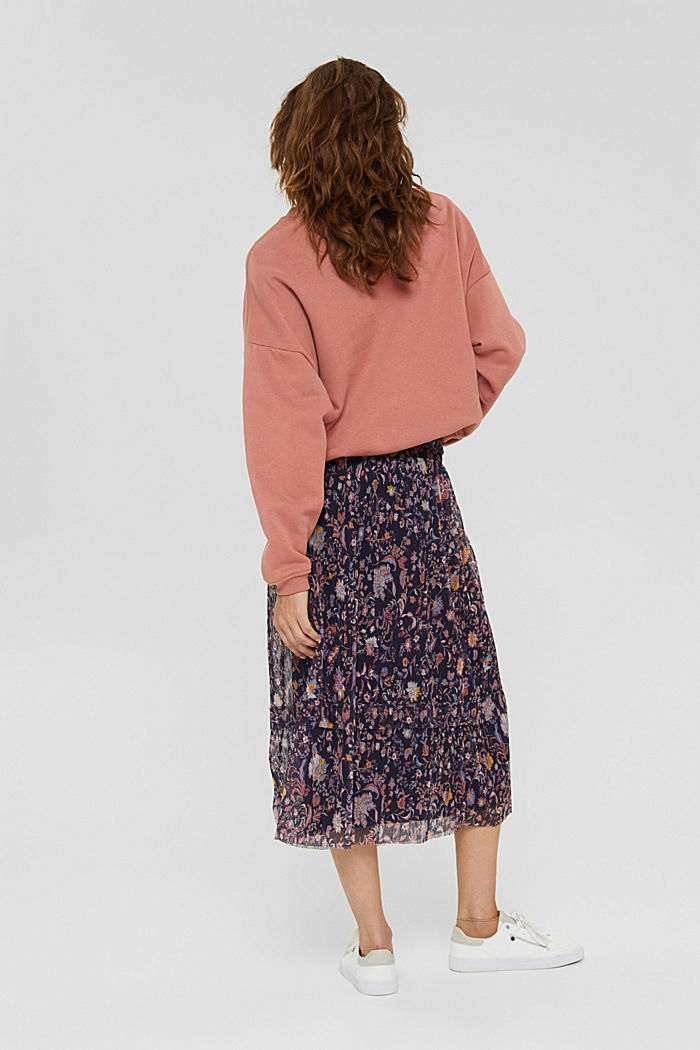Mesh midi skirt with pleats and a print, NAVY, detail image number 3