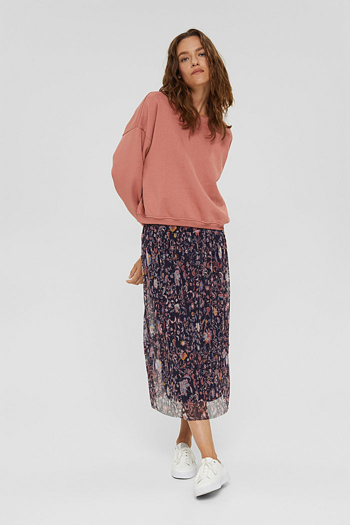 Mesh midi skirt with pleats and a print, NAVY, detail image number 1