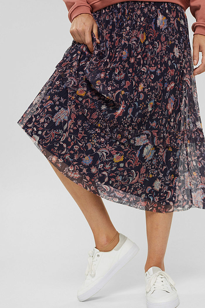 Mesh midi skirt with pleats and a print, NAVY, detail image number 2