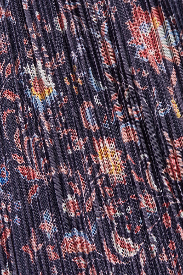 Mesh midi skirt with pleats and a print, NAVY, detail image number 4