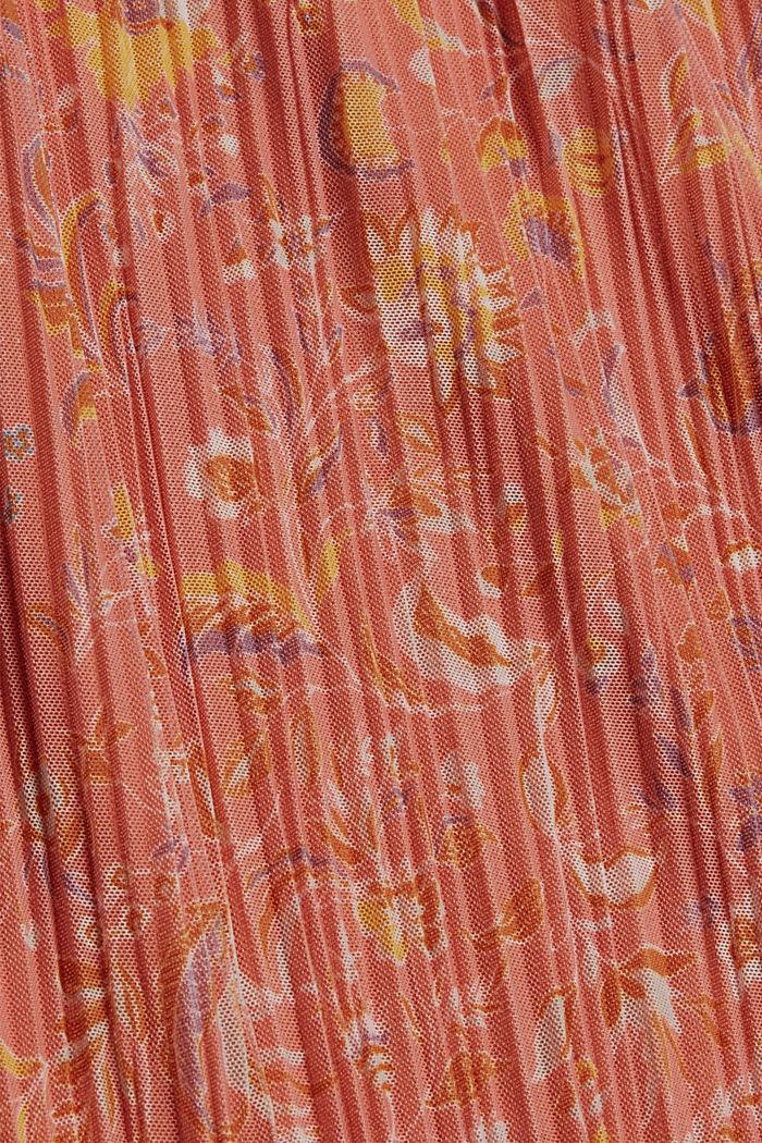 Midirok van mesh met plissé en print, BLUSH, detail image number 4
