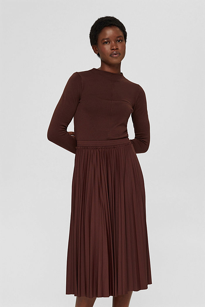 Skirts knitted Pleated Skirt midi, RUST BROWN, detail image number 0