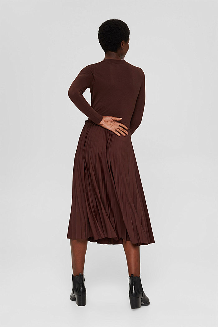 Skirts knitted Pleated Skirt midi, RUST BROWN, detail image number 3