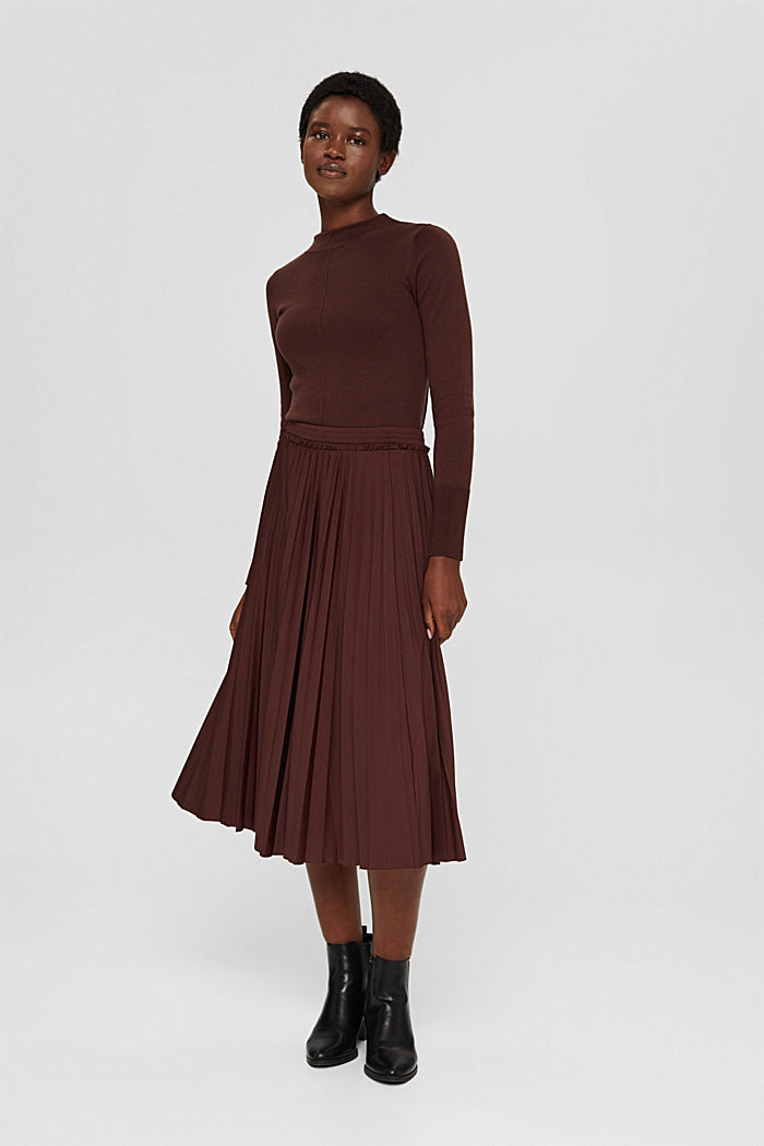Skirts knitted Pleated Skirt midi, RUST BROWN, detail image number 1