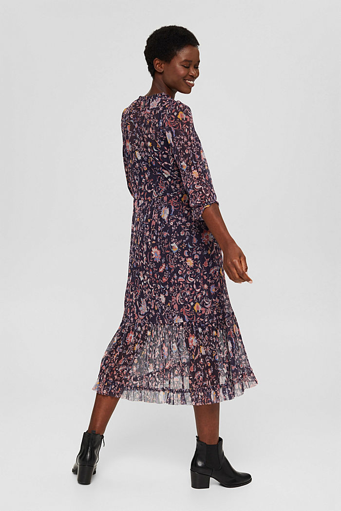 Pleated mesh dress with a floral print, NAVY, detail image number 2