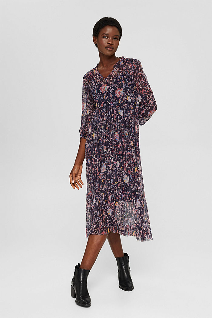 Pleated mesh dress with a floral print, NAVY, detail image number 1