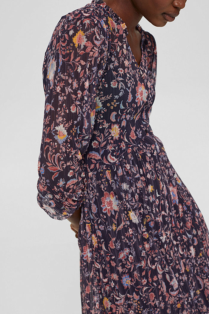 Pleated mesh dress with a floral print, NAVY, detail image number 3