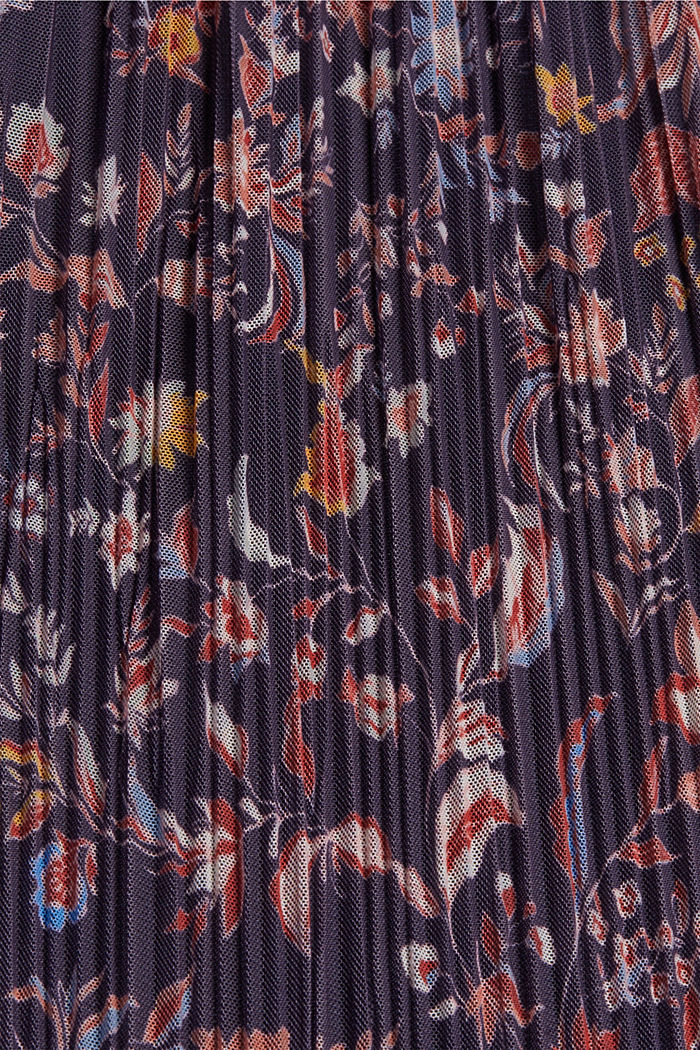 Pleated mesh dress with a floral print, NAVY, detail image number 4