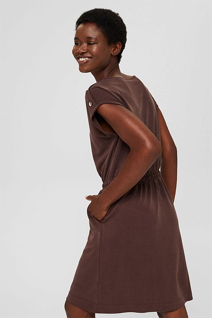Kleid mit mattem Schimmer und Zierknöpfen, RUST BROWN, detail image number 2