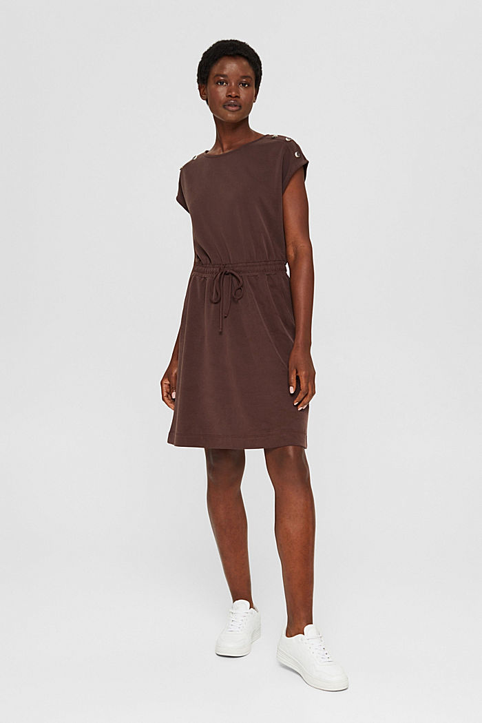 Kleid mit mattem Schimmer und Zierknöpfen, RUST BROWN, detail image number 1