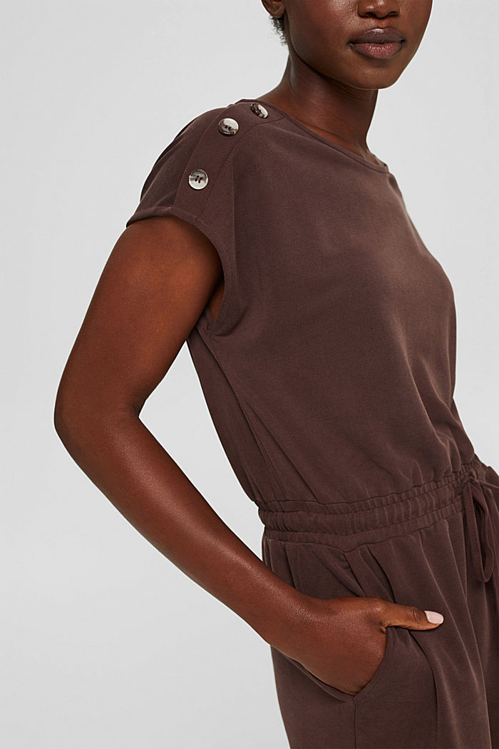 Kleid mit mattem Schimmer und Zierknöpfen, RUST BROWN, detail image number 3
