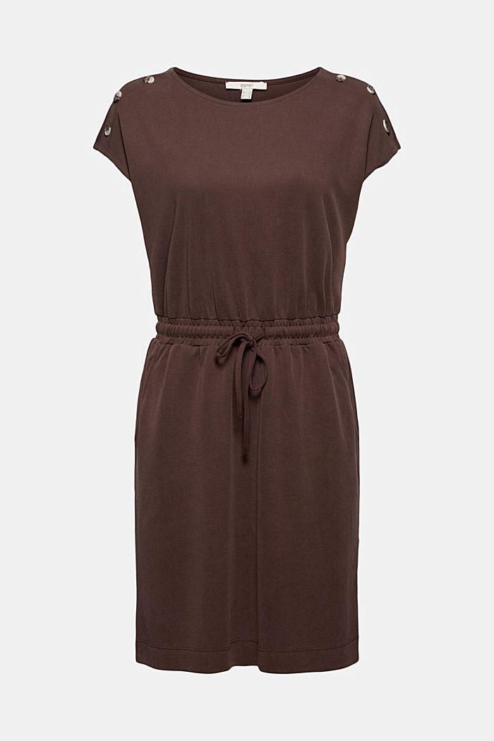 Kleid mit mattem Schimmer und Zierknöpfen, RUST BROWN, detail image number 5