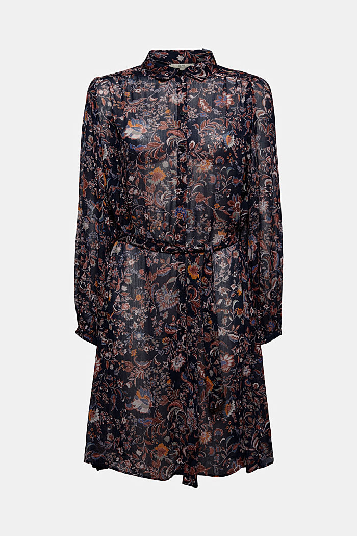 Floral chiffon dress with batwing sleeves