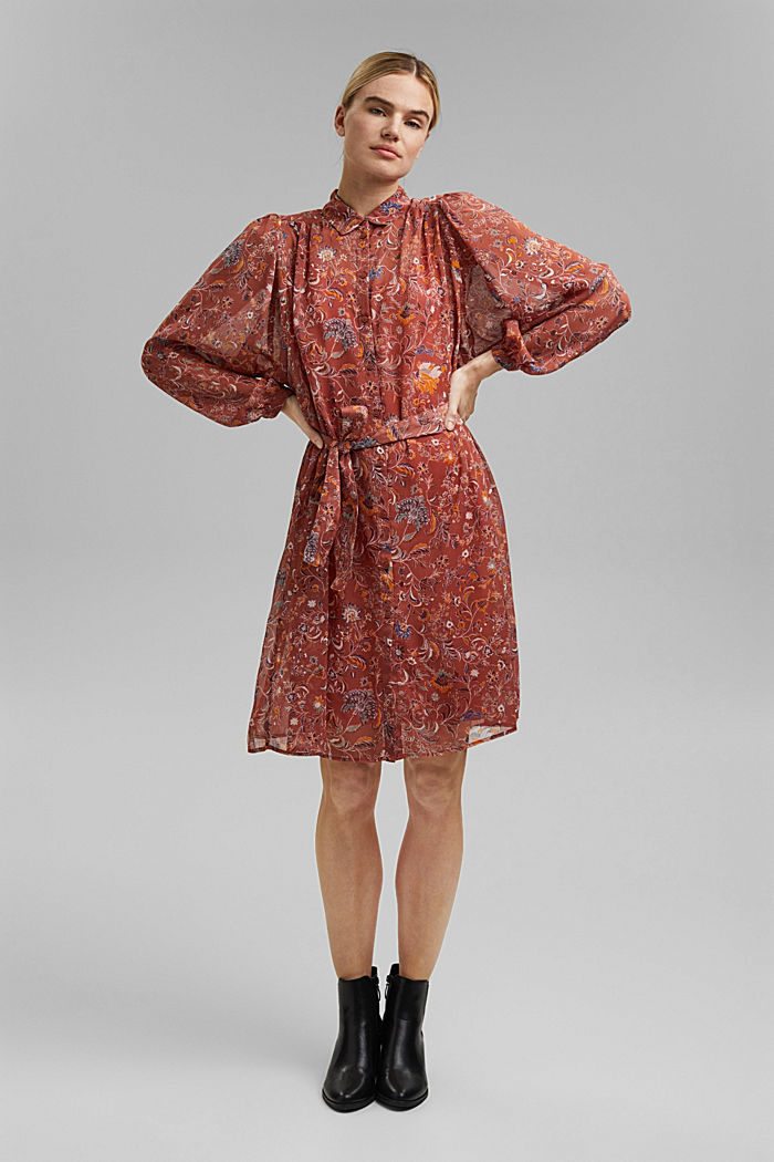 Floral chiffon dress with batwing sleeves, BLUSH, detail image number 1