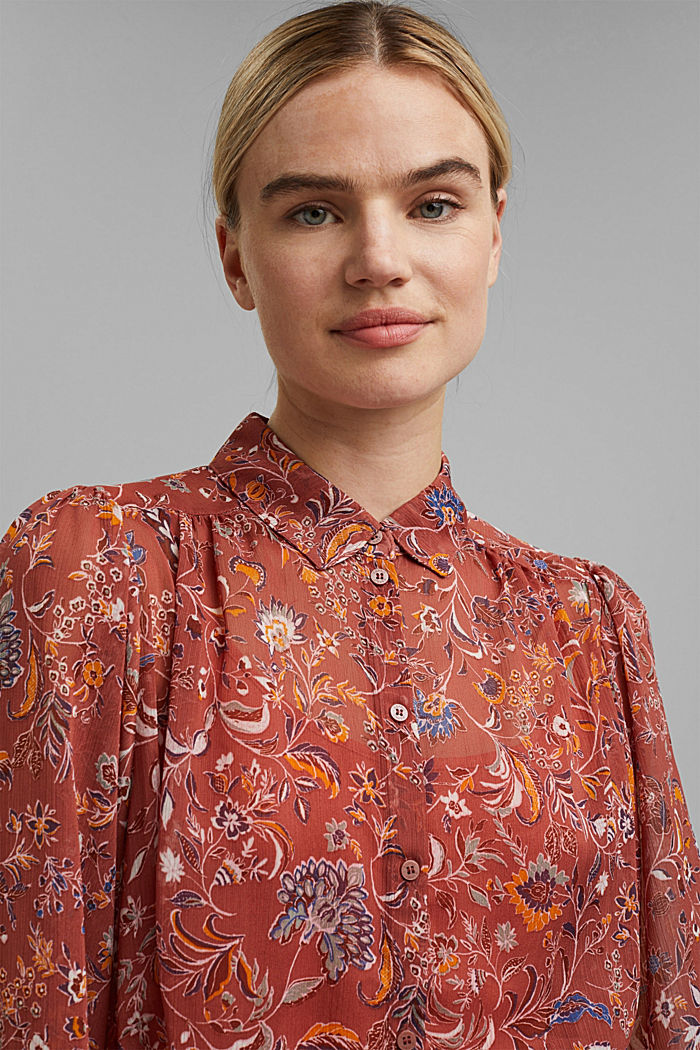 Floral chiffon dress with batwing sleeves, BLUSH, detail image number 5