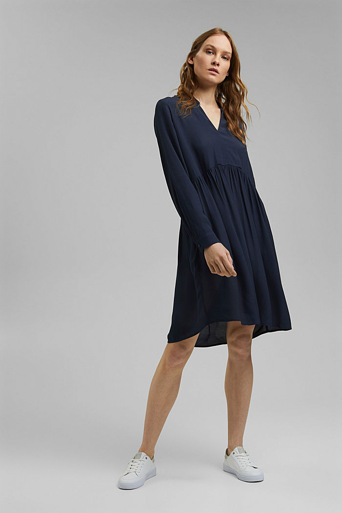 Blusenkleid mit LENZING™ ECOVERO™, NAVY, detail image number 1