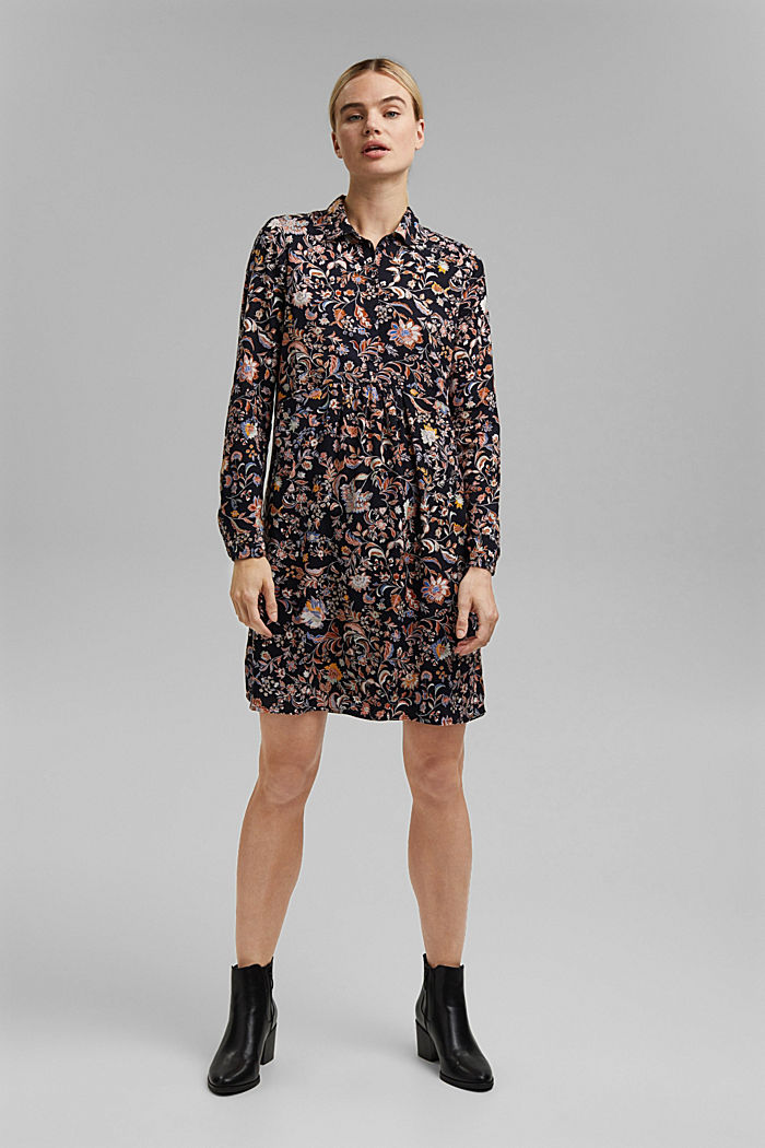 Shirt dress with a print, LENZING™ ECOVERO™, NAVY, detail image number 1
