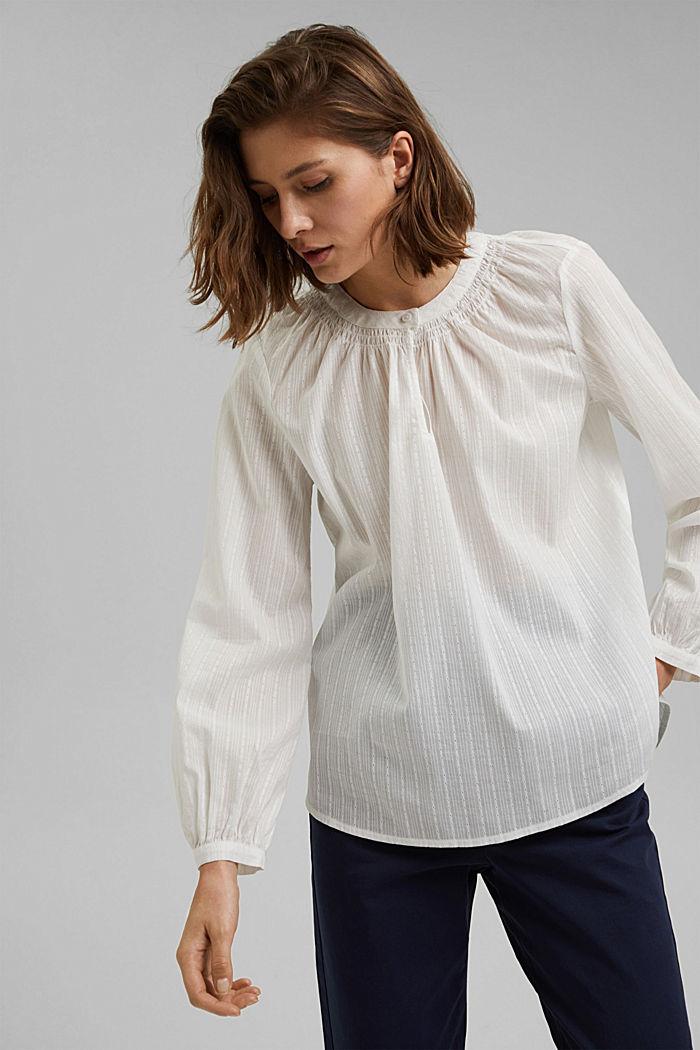 Bluse mit Webstruktur aus 100% Baumwolle, OFF WHITE, detail image number 0