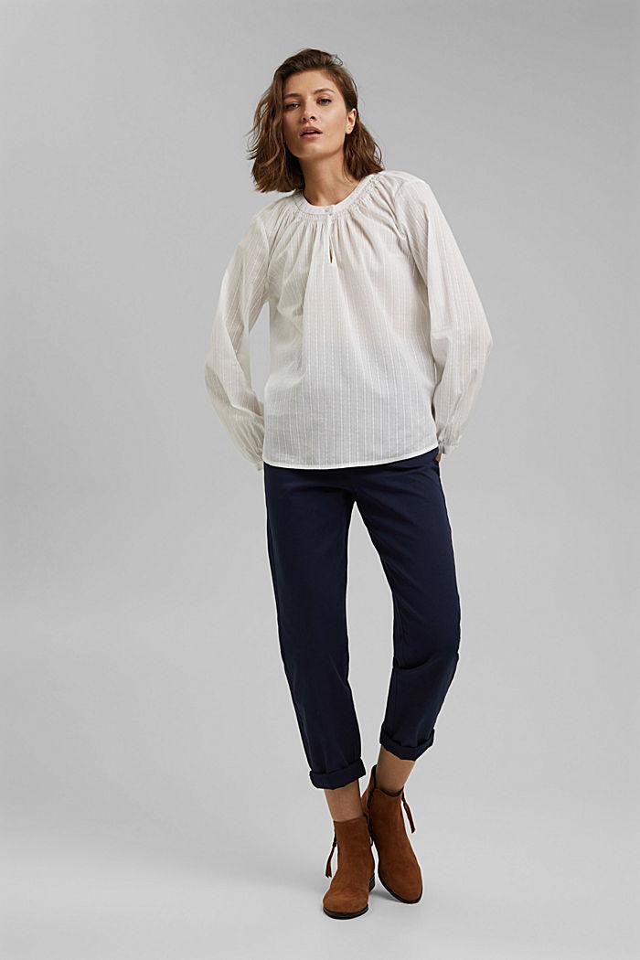 Bluse mit Webstruktur aus 100% Baumwolle, OFF WHITE, detail image number 1