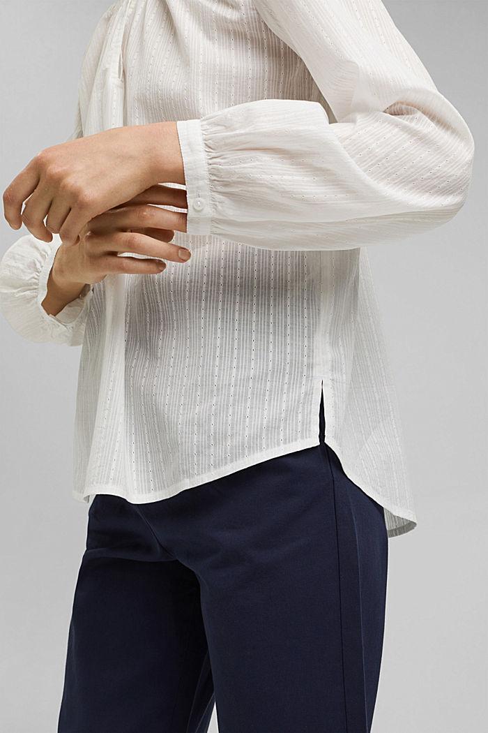 Bluse mit Webstruktur aus 100% Baumwolle, OFF WHITE, detail image number 2