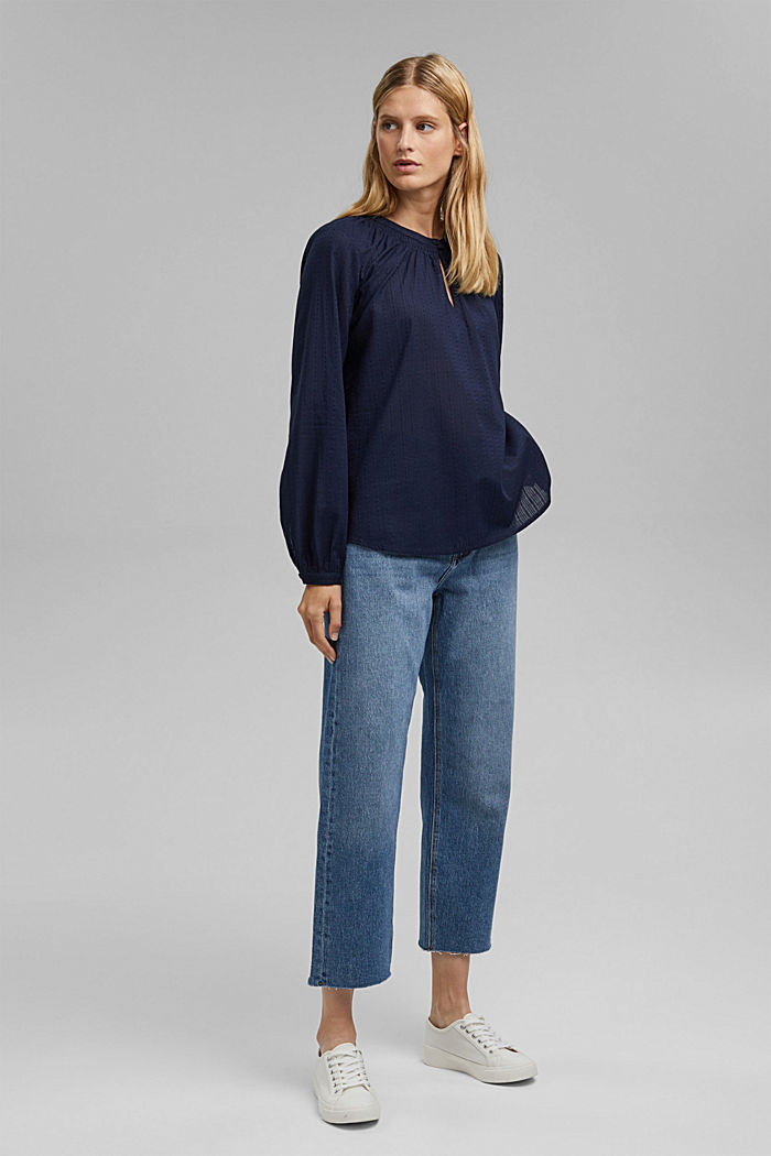 Bluse mit Webstruktur aus 100% Baumwolle, NAVY, detail image number 1