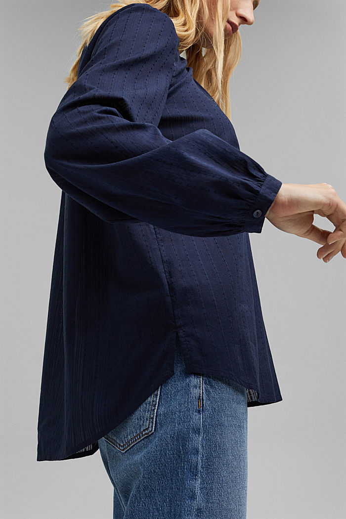 Bluse mit Webstruktur aus 100% Baumwolle, NAVY, detail image number 2