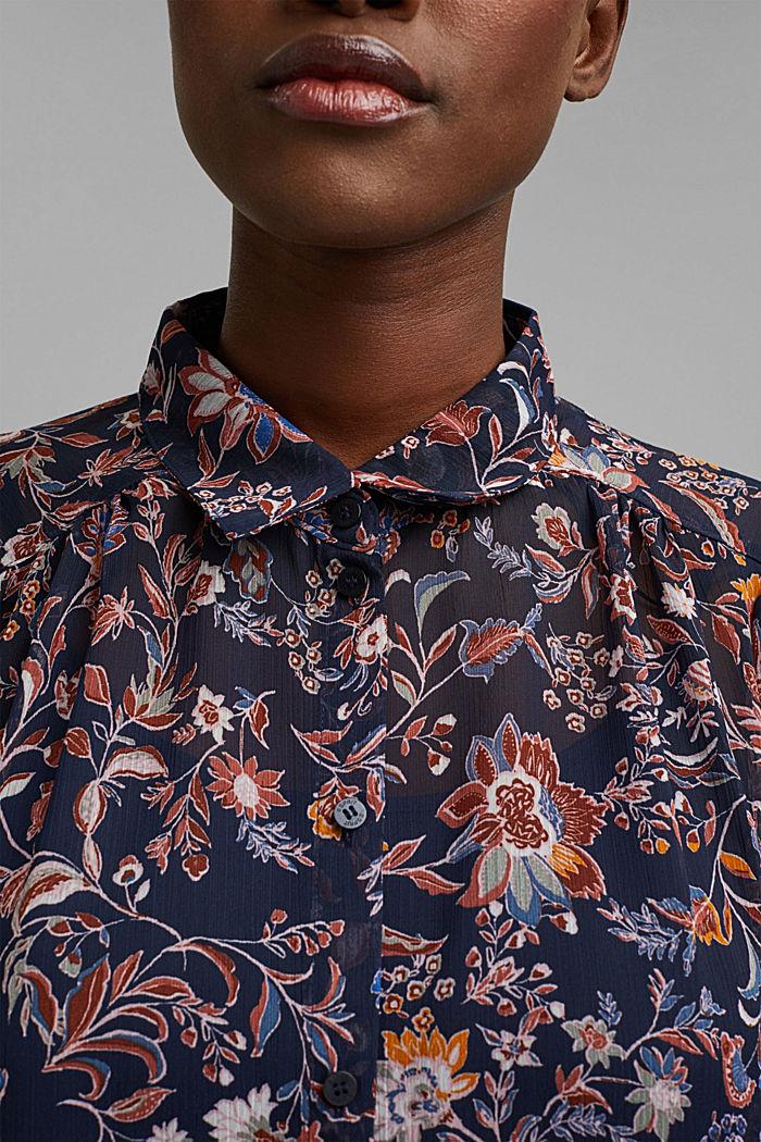 Geblümte Fledermaus-Bluse aus Chiffon, NAVY, detail image number 2