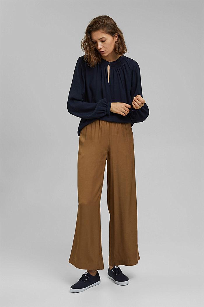 Blouses woven Carmen Blouse longsleeve, NAVY, detail image number 1