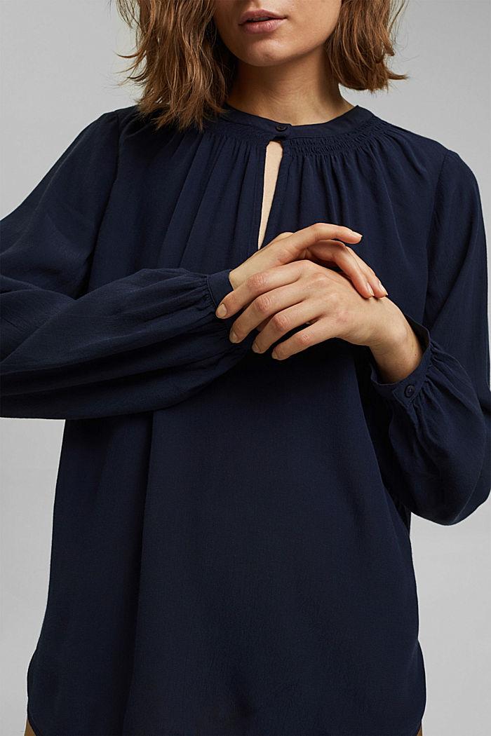 Blouses woven Carmen Blouse longsleeve, NAVY, detail image number 2