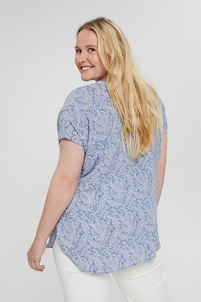 CURVY blouse top made of LENZING™ ECOVERO™, PASTEL BLUE, detail image number 3
