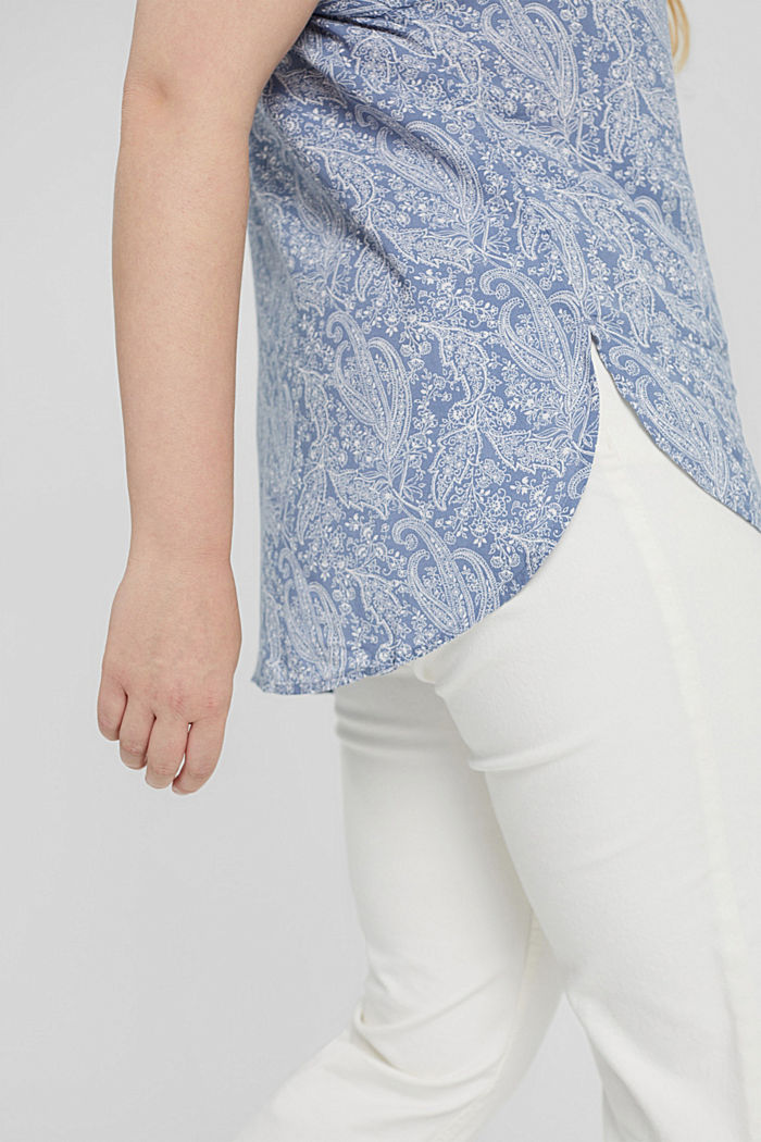 CURVY blouse top made of LENZING™ ECOVERO™, PASTEL BLUE, detail image number 5