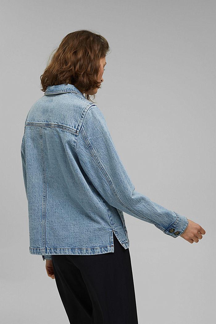 Džínové košilová bunda z bio bavlny, BLUE LIGHT WASHED, detail image number 3