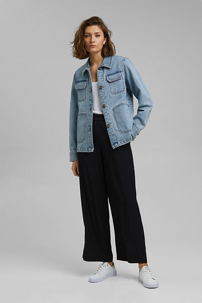 Džínové košilová bunda z bio bavlny, BLUE LIGHT WASHED, detail image number 1