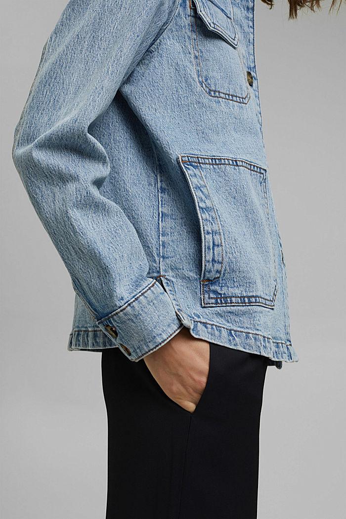 Džínové košilová bunda z bio bavlny, BLUE LIGHT WASHED, detail image number 2